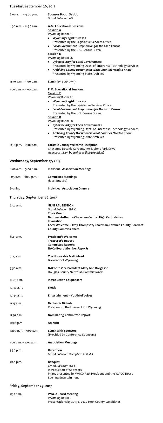 2017 WACO Conference Draft Agenda for Web
