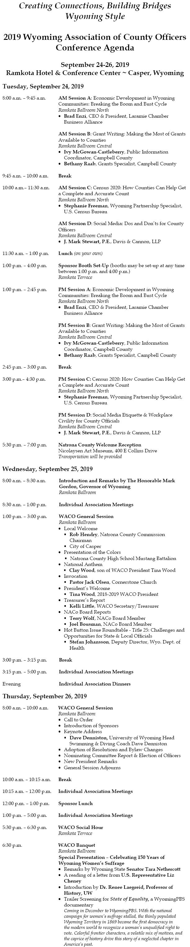 WEB Agenda